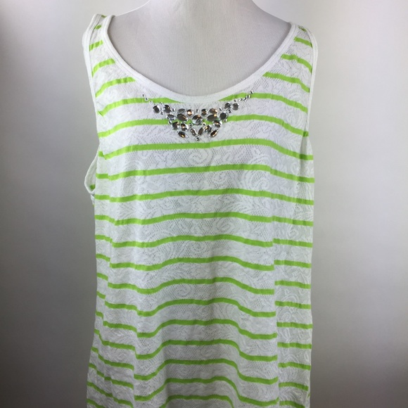 dec8bfa035c66 Lane Bryant Tank Top Lace Embellished 18 20 stripe